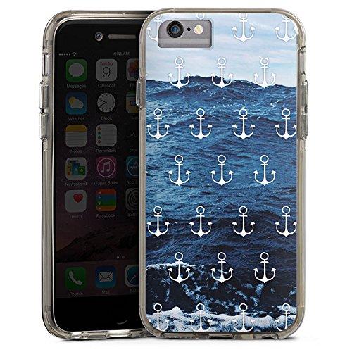 Apple iPhone 6s Plus Bumper Hülle Bumper Case Glitzer Hülle Anchor Anker Meer Bumper Case transparent grau