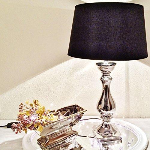 Schwarze Keramik Lampe (DRULINE Lovely Keramik Tischlampe Tischleuchte Nachttischlampe Lampe Leuchte Lampenfuß 46 cm Schwarz)