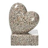 Grabschmuck-Herz auf Sockel Höhe 17,5cm Kunstharz Granitnachbildung (Bainbrock Braun)