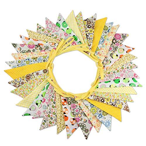 Süße Beidseitig Wimpel Girlande, 10M Bunting Wimpelkette mit 36 STK Farbenfroh Wimpeln für Hochzeits Geburtstag Party (Gelb)