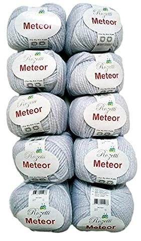 10 x 50g Meteor Wolle zum Stricken und Häkeln mit Glitzer Farbe 400-12, weiß
