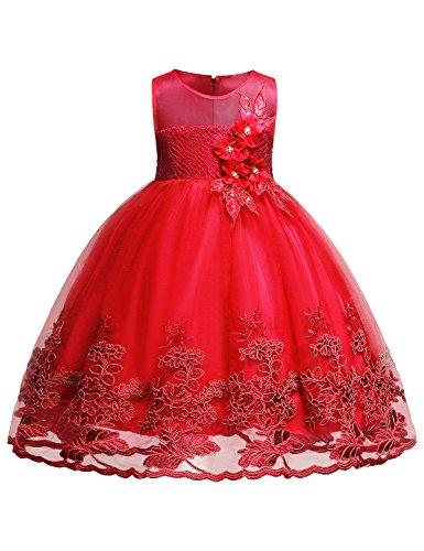 Hibelle Mädchen Geburtstag Kleid Kinder Ärmelloses Chiffon-Mädchen-Kleid Kinder-Spitze 3D-Blumen-Hochzeitsfest-Kleider Größe (140) 9-10 Jahre Groß Rot Kleid
