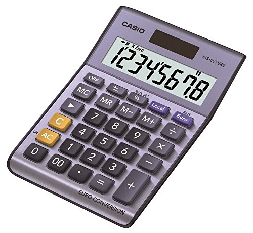 Casio MS-80VERII-S-EC - Calculadora básica, 30.7 x 103 x 145 mm, color azul