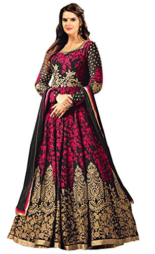 Siddeshwary Fab Women\'s Taffeta Silk Long Anarkali Embroidery Gown For Women And Girl ( Black Pink Gown )