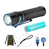 OLIGHT Baton Pro LED Taschenlampe 2000 Lumen, USB wiederaufladbare Taschenlampen, Reichweite bis zu 132 Meter, 5 Beleuchtungsmod für Campen, Wandern, Fahrradfahren usw