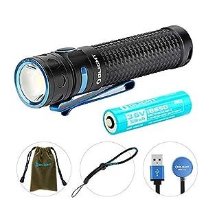 OLIGHT Baton Pro LED Taschenlampe 2000 Lumen,132 Metern Reichweite, 9 Tage Laufzeit, USB Aufladbare Taschenlampen, inkl. 3500mAh Batterien