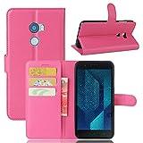 Guran® Custodia in Pu Pelle per HTC One X10 Smartphone avere Portafoglio e Funzione Stent Case Flip Cover Caso Copertura Protettiva-rose red