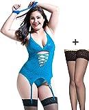 YosbuTi Damen Reizwäsche Elastische Spitzen Teddy Unterwäsche mit Strumpfhaltergürtel-Dessous in Übergröße