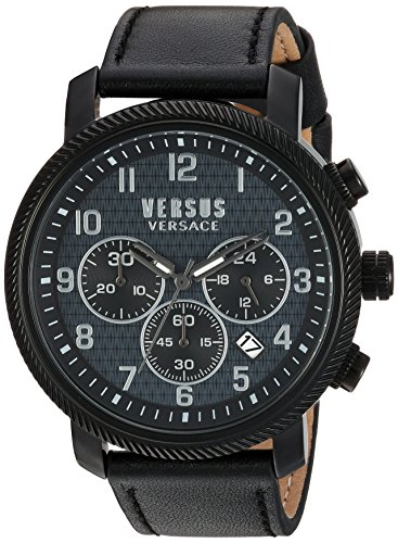 Versus Versace pour homme 'Hoxton Square' à quartz en acier inoxydable et cuir décontractée montre, couleur: noir (modèle: S70010016)