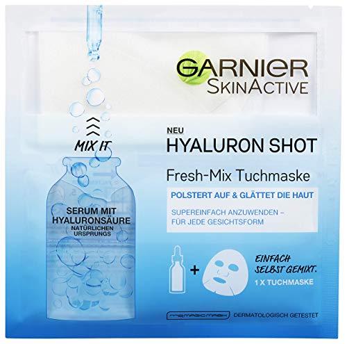 Garnier SkinActive Hyaluron Shot Fresh-Mix Tuchmaske, feuchtigkeitsspendend, polstert auf und glättet die Haut, 3er-Pack (3 x 33 g)