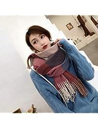 YSFU écharpe foulard Écharpe Hiver Femme Longue Section Épaisse Chaude Col  Double Face Écossais Bicolore À c4258d8a774