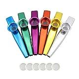 NouveLife Lot de 6 Kazoo Métal en Alliage d'Aluminium Longueur de 12cm avec Membrane pour Accompagnement de Guitare ou d'Harmonica