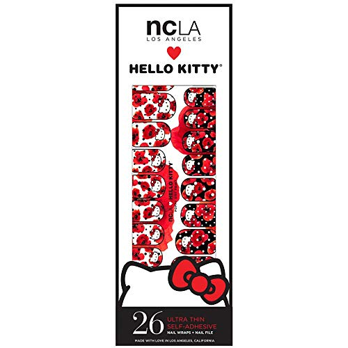 ncla Los Angeles 26 Designer Nail Wraps - Hello Kitty Poppy Dot Print -