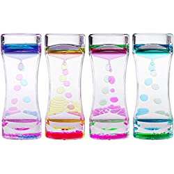 BESTOMZ 4pcs Doble Reloj de arena Liquid - Líquido Movimiento Bubble Timer con Pretty