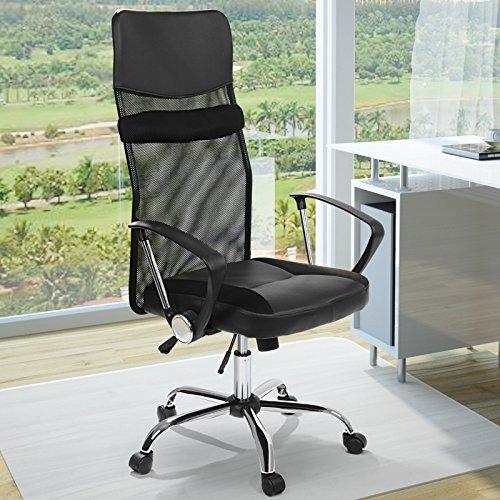 Ergonomischer Bürodrehstuhl - aus Kunstleder und Nylon, mit hoher Rückenlehne, eingebautem Wippmechanismus und stufenloser Sitzeinstellung, in Schwarz - Büromöbel, Bürostuhl, Schreibtischstuhl