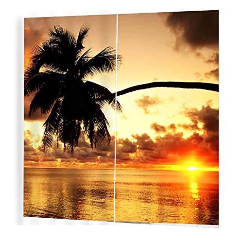 gfjfghfjfh Sonnenuntergang Kokospalme Muster Vorhänge Divider Nizza Fenster Vorhang 170 * 200 Romantische Vorhänge für Wohnzimmer -