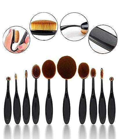 CINEEN Make Up Pinselset 10-tlgs Schmink Pinsel Set Kosmetik in Ovalem Zahnbürstendesign Puderpinsel Foundation Bürste Lip Braue Pinsel Eyeliner