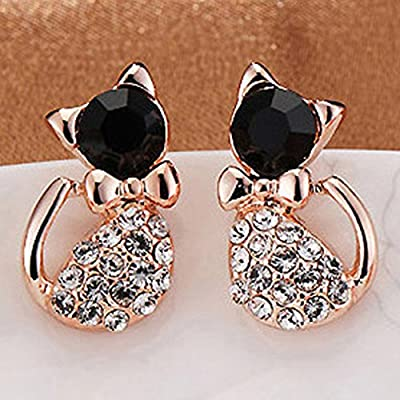 Yesiidor Cat Stud Earring Cute Kitten With Bow Crystal Elegant And Exquisite Jewelry Gift