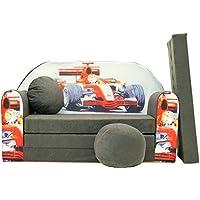 Preisvergleich für PRO COSMO A22Kinder Schlafsofa mit Puff/Fußbank/Kissen, Stoff, Grau, 168x 98x 60cm