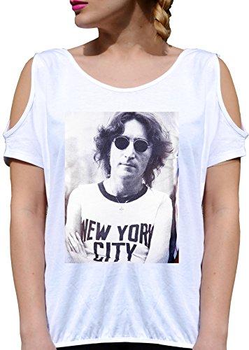 T SHIRT JODE GIRL GGG27 Z3381 NEW YORK CITY JOHN LENNON VINTAGE PHOTO FASHION COOL BIANCA - WHITE