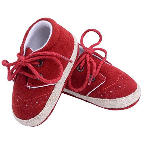 IGEMY Chaussures de berceuses pour bébés néo-bébés pour bébés Chaussures pour berceuses souples et souples Rouge