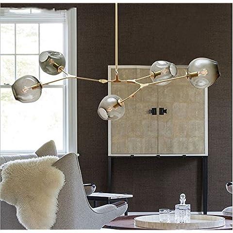 CAC Lindsey Adelman Globe ramificazione lampadario di bolla 110v 220v lampadario moderno illuminazione luce,oro vetro fumo,1 LUCE