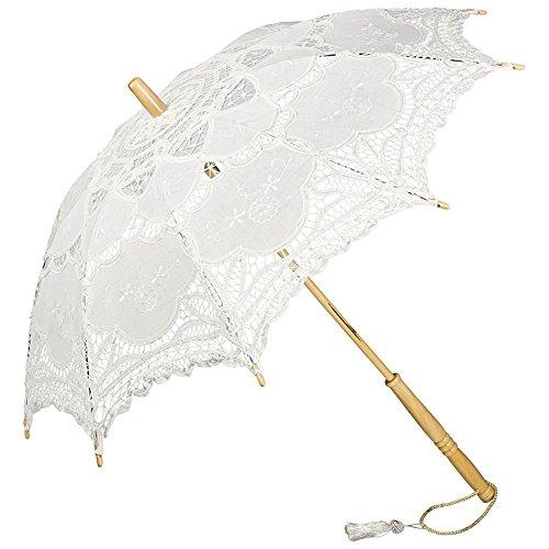 Preisvergleich Produktbild VON LILIENFELD Spitzenschirm Damen Sonnenschirm Brautschirm Hochzeitsschirm Julie Verspielte Troddelquaste weiß