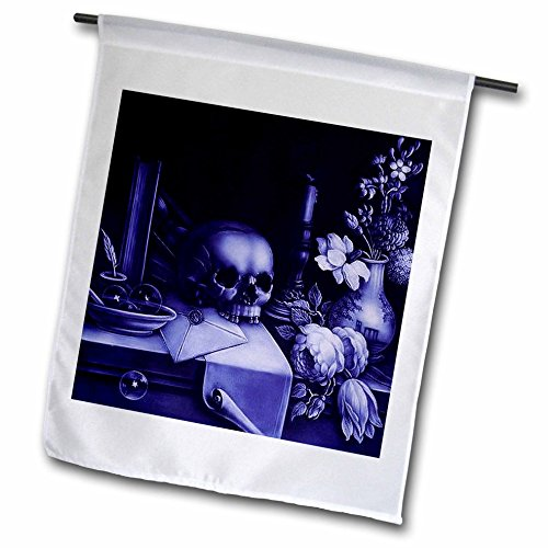 3dRose FL_46710_1 Vanitas-Skull, Totenkopf, Violett, Tisch, Macabre, Halloween, dunkelviolett, 30,5 x 45,7 cm