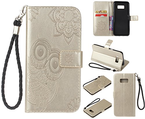 Ecoway Para Samsung Galaxy S8 Funda, Patrón de búho en relieve Cuero de la PU Leather Cubierta , Función de Soporte Billetera con Tapa para Tarjetas Soporte para Teléfono - oro