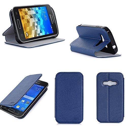 Blu Custodia Pelle Ultra Slim per Samsung Galaxy Trend 2 Lite Smartphone - Flip Case Funda Cover Protettiva Samsung Galaxy Trend 2 Lite (PU Pelle - Blue) - XEPTIO Accessori