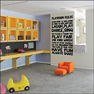 ABK Wall Art Children's Playroom Rules Wall Sticker Kids Bedroom Vinyl Wall Quote - Black - Matt