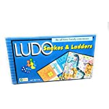 Ekta Ludo, Snakes & Laders Best Size Laminated Hard Board Family Entertainer (Blue)