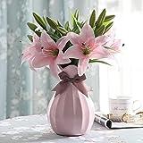 Künstliche Blumen Rosa Lilie,GKONGU 4 Stück Realistisch Blumensträuße Natürliche Lilie mit 3 Blütenknospen Ideal für Hochzeit Sträuße Vase Dekoration -Rosa