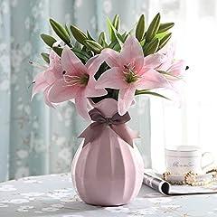 Idea Regalo - Fiori Artificiali Giglio,GKONGU 4 Pezzi Realista Giglio Mazzi di fiori dall' Aspetto Naturale con 3 Gemme di fiori,Ideale per la casa, il giardino, la decorazione di nozze-Bianca