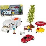 Camping Spielset, 9-teilig, mit Wohnmobil und weiterem Zubehör: Spielzeug Wohnwagen Caravan Auto Spielauto Camper
