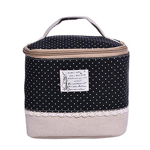 Contever® Multifunzione Sacchetto Hand Cosmetic Borsa da Toilette Borsetta da Viaggio Cosmetico Wash Bag per le Donne la Girl - Nero