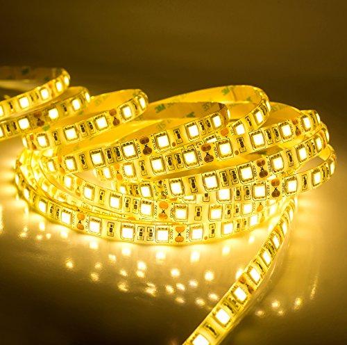 Quntis® Etanche à l'eau Blanc Chaude SMD5050 Kit de Bande Lumineuse Flexible à LED Haute Densité - 300 LED avec Adaptateur IP65