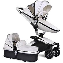 NWYJR Recién nacido cochecito bebé carros Bi-direccional plegable antichoque vista elástico elástico ajustable manejar viajes sistema barras altas
