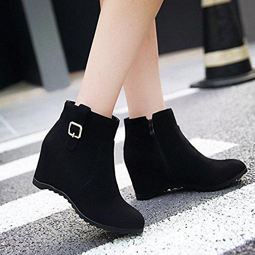 Mee Shoes Damen runde Reißverschluss hidden heel Ankle Boots Schwarz