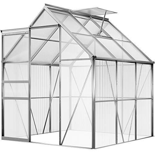 Deuba Aluminium Gewächshaus 3,7m² 190x195cm inkl. Dachfenster Treibhaus Gartenhaus Frühbeet Pflanzenhaus Aufzucht 5,85m³