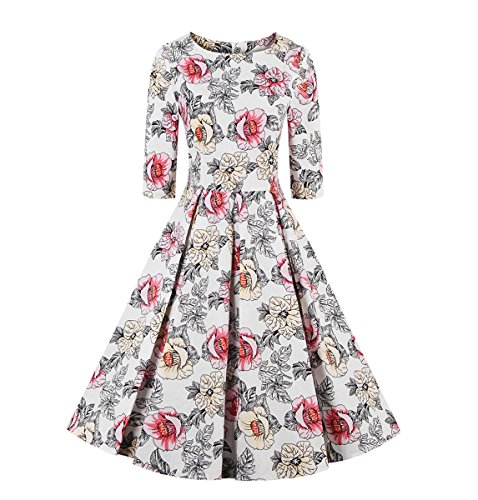 E-Girl EM130918D Vintage pin-up 50s robe de soirée,bal cocktail Rockabilly Swing,S-XXXXL Fleur