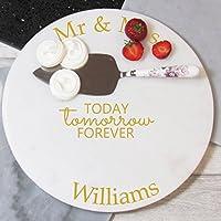 Wedding Personalised Marble Cake Plate, Mr & Mrs Gift, Personalised Wedding gift