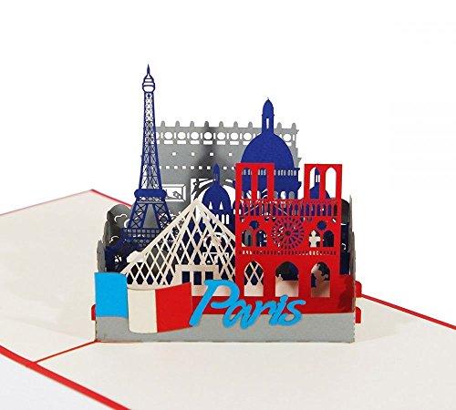 Paris Skyline - Klappkarte / 3D Pop-Up Karte - Reise-Gutschein, Geburtstagskarte, Geldgeschenk, Grußkarte, Glückwunschkarte, Urlaubskarte, Dankeskarte, Geschenkkarte, Andenken, Frankreich Souvenir