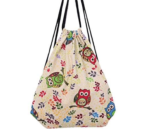 Hosaire 1x Kordelzug Rucksack Tasche Multifunktion Mode Farbe Muster Rucksack Faltbar Damen Canvas Backpack Outdoor Daypacks Rucksäcke mit Seil Stil 3