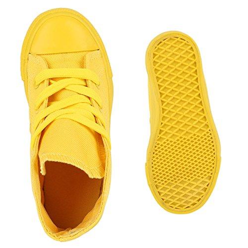 Kinder Sneakers High Top Turnschuhe Stoffschuhe Schnürschuhe Gelb