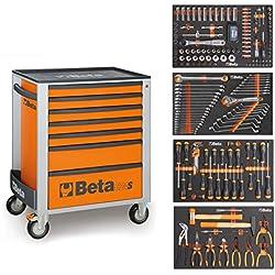BETA Easy Werkzeugwagen con 7 cajones con 210 teiligem Werkzeugsortiment para Autoreperatur, 2400S-O7/E-M, naranja, 2400S-07/E-M