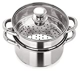 #1: Pristine Stainless Steel Induction Base Tri Ply 2 Tier Multi Purpose Steamer / Modak Maker With Glass Lid, 18Cm