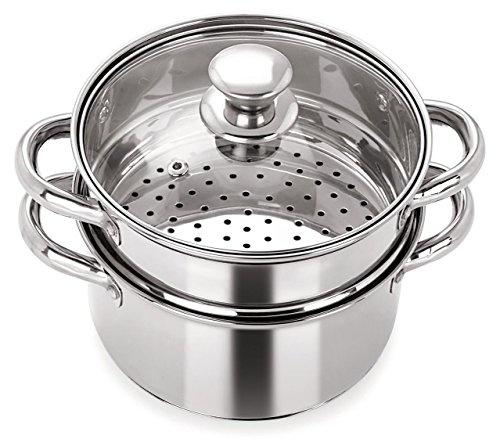 PRISTINE Stainless Steel Induction Base Tri Ply 2 Tier Multi Purpose Steamer / Modak Maker with Glass Lid, 18cm
