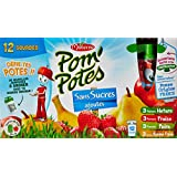 Pom'Potes Spécialités de Fruits sans Sucres Ajoutés Pomme/Pomme Poire/Pomme Fraise/Pomme Banane Fraise 12 x 90 g - Lot de 3