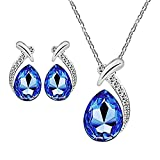 #4: Sapphire Blue Rhodium Plated Winsome Dewdrop Crystal Pendant Set with Chain for women by Parisha Jewells NL9007002